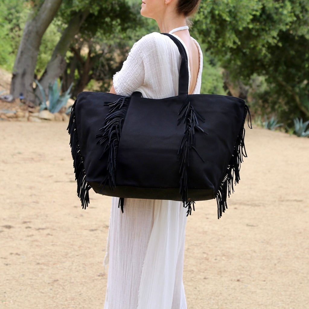 Leather Fringe Canvas Bag - BLACK
