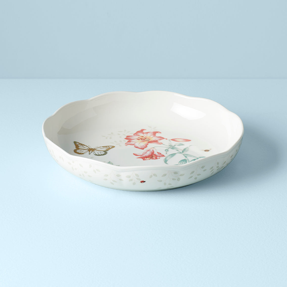 Butterfly Meadow Gold Low Serving Bowl