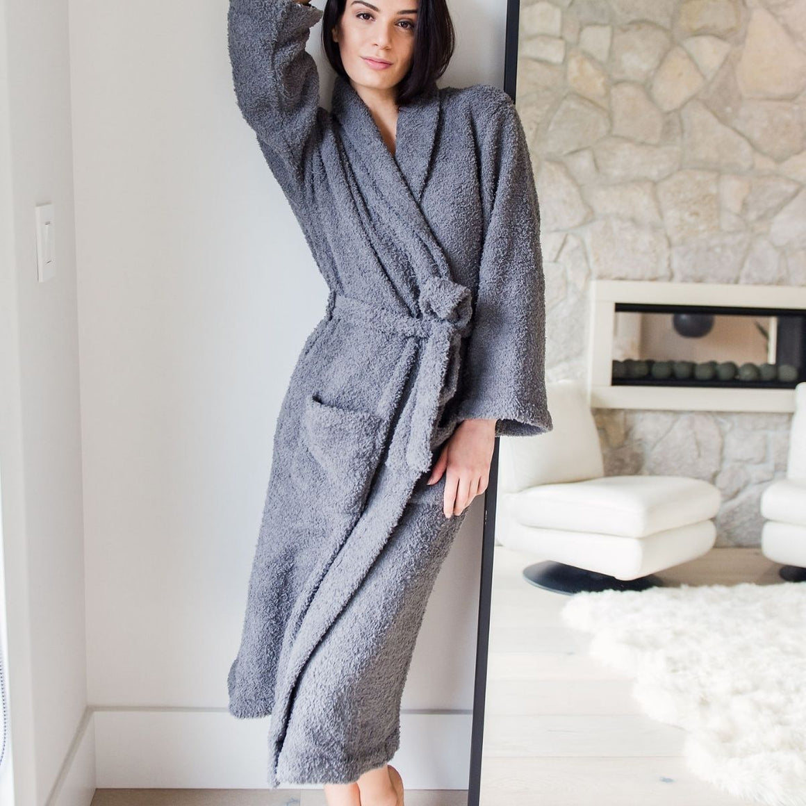 Luxe Heavyweight Bath Robe - Charcoal