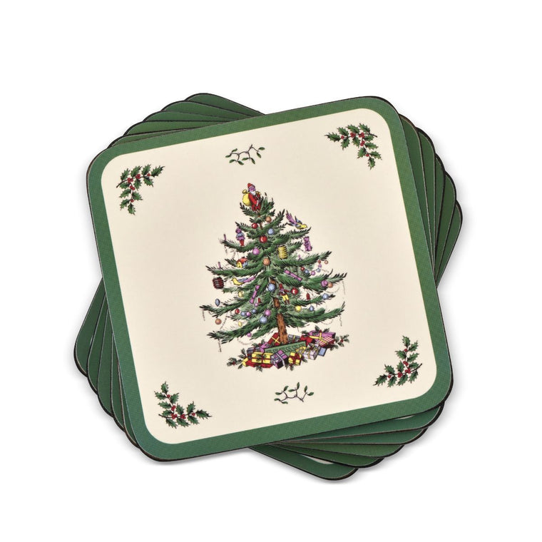 Christmas Tree Coasters, Set of 6