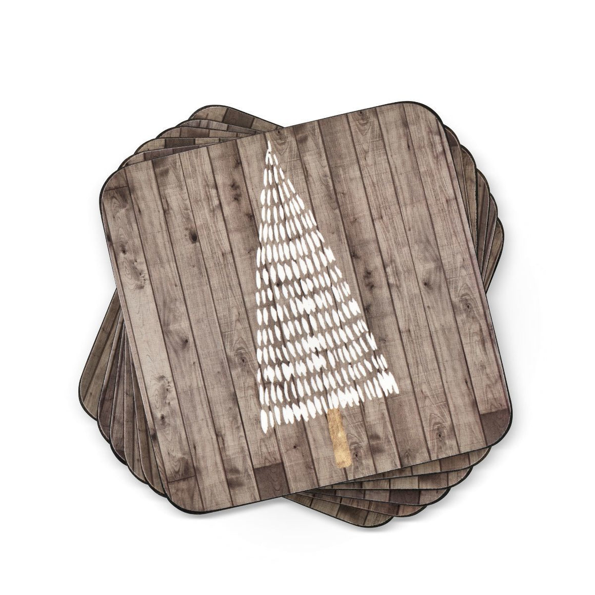Wooden White Christmas Coasters, Set of 6