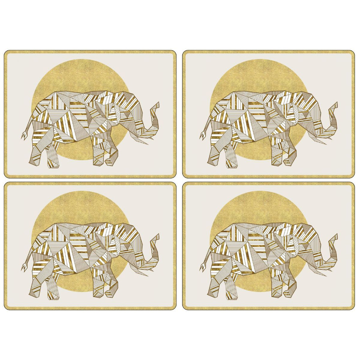 Geometric Golden Elephant Placemats, Set of 4
