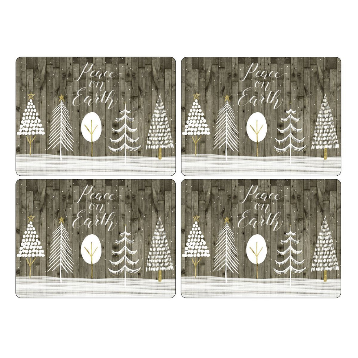 Wooden White Christmas Placemats, Set of 4