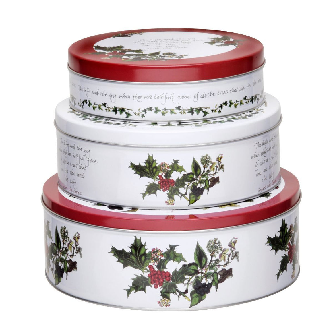 Holly Cardianl Nesting Tins, Set of 3