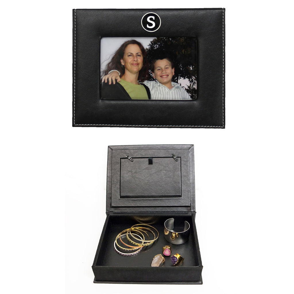 Customized Initial Keepsake Box with Picture Frame