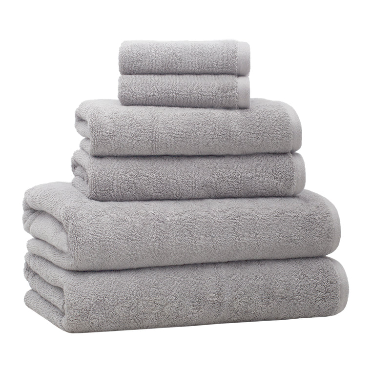 6-Piece Luxury Plush Bath Towel Set – Light Grey