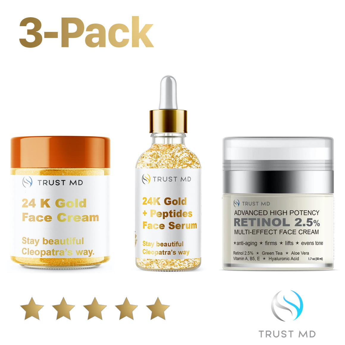 3 PACK Bundle 24K Gold and Peptide Face Serum and  24K Gold Rejuvenation Face Cream and Retinol Advanced Potency Face Cream