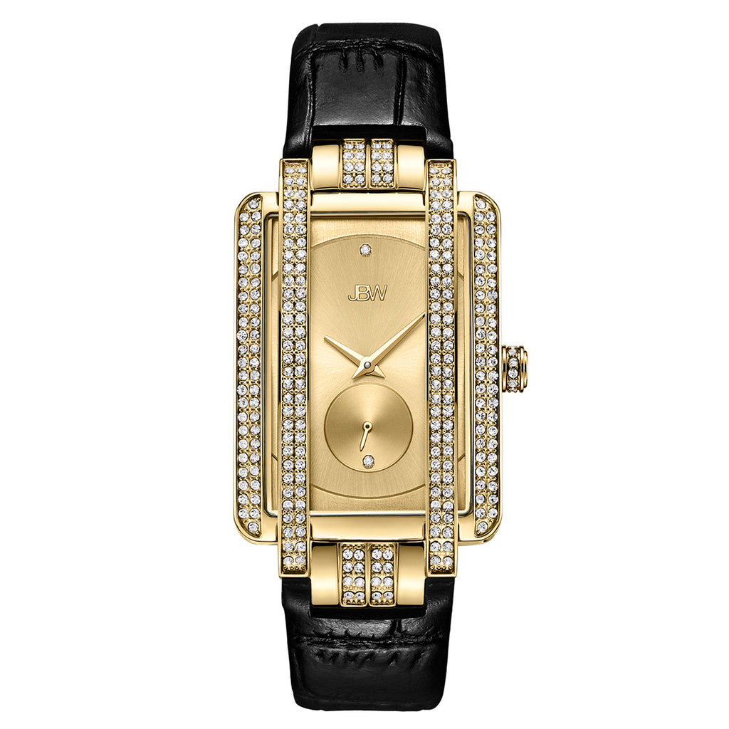 Women's Mink Diamond Leather Watch - Gold