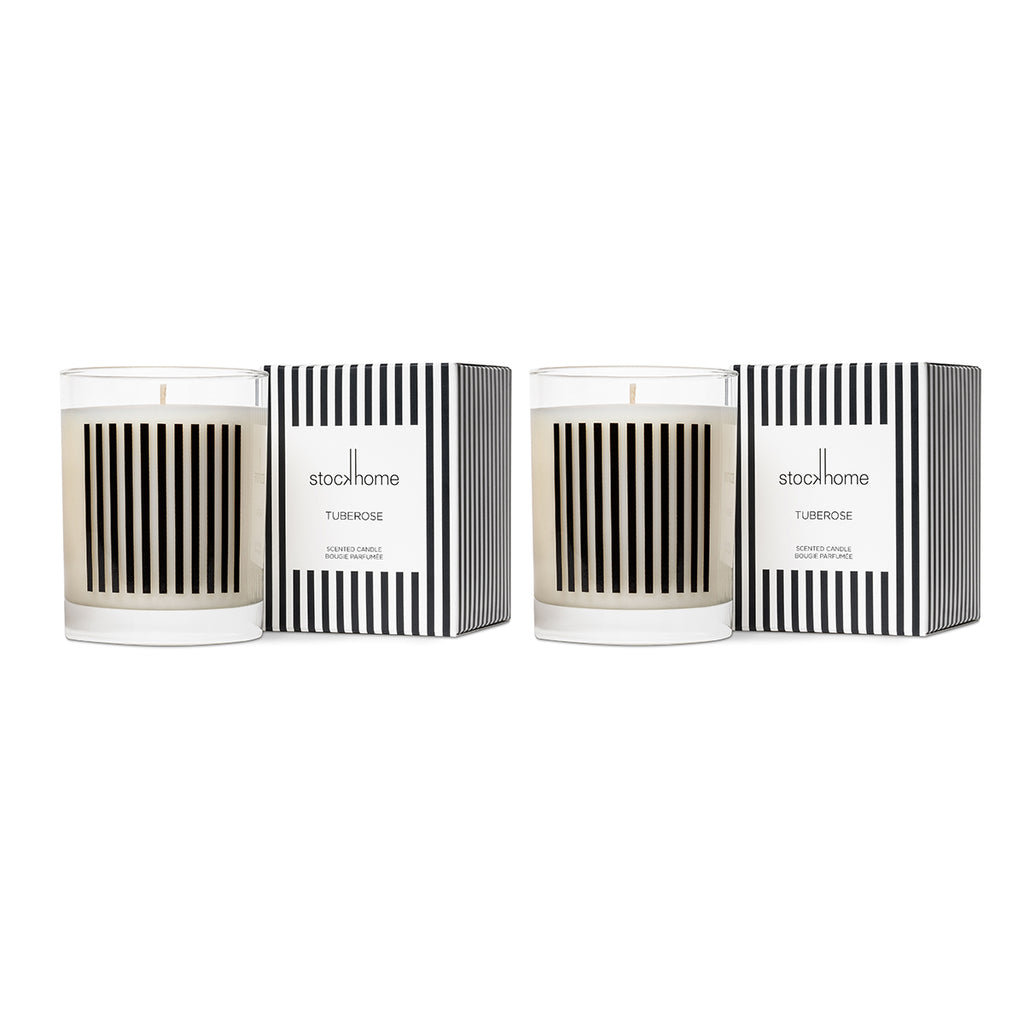 Tuberose Breton Stripe Luxury Candle Set of 2
