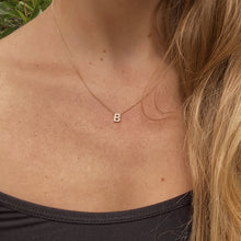 Load image into Gallery viewer, Diamond Letter Necklace - solid 14k gold