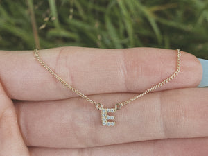 Diamond Letter Necklace - solid 14k gold
