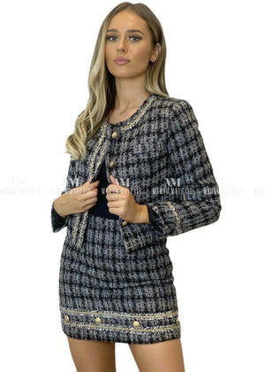 Annalise Black & Grey Tweed Suit