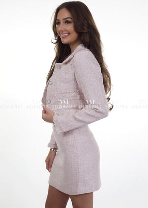 Christine Cropped Long Sleeve Tweed Suit Two Piece Set