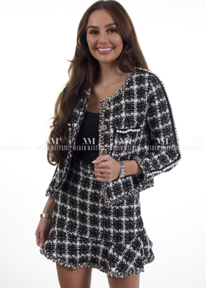Cynthia Monochrome Two Piece Tweed Suit