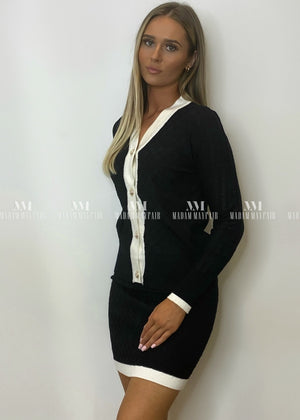 Evelyn Cardigan Two Piece Black Sets