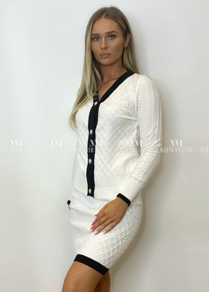 Evelyn Cardigan Two Piece White Sets