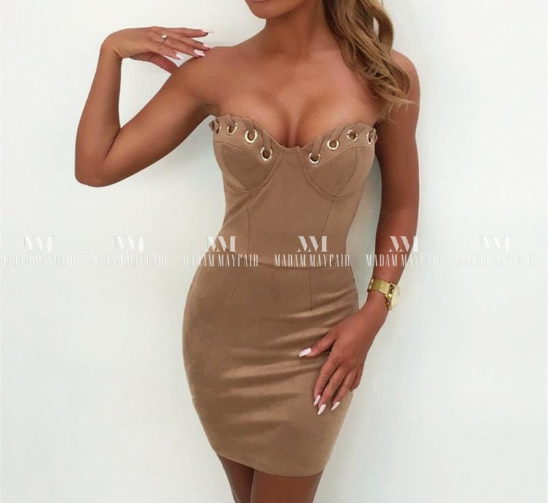 Fedora Strapless Faux Suede Bodycon Dress Dresses