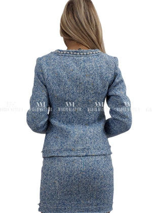 Jackie Sky Blue Pearl Tweed Suit Two Piece Sets