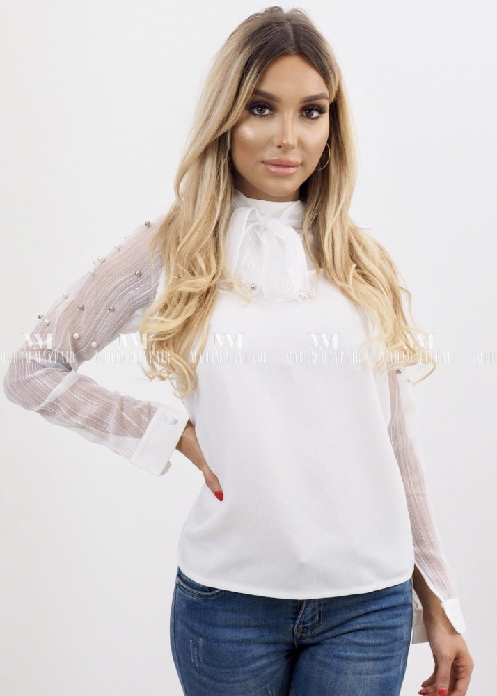 Minnie Bow And Pearl Embellished Blouse Tops Shirts