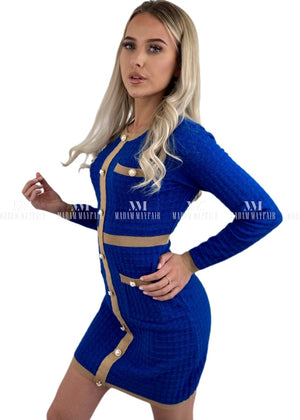 Miranda Blue Knit Bodycon Dress Dresses