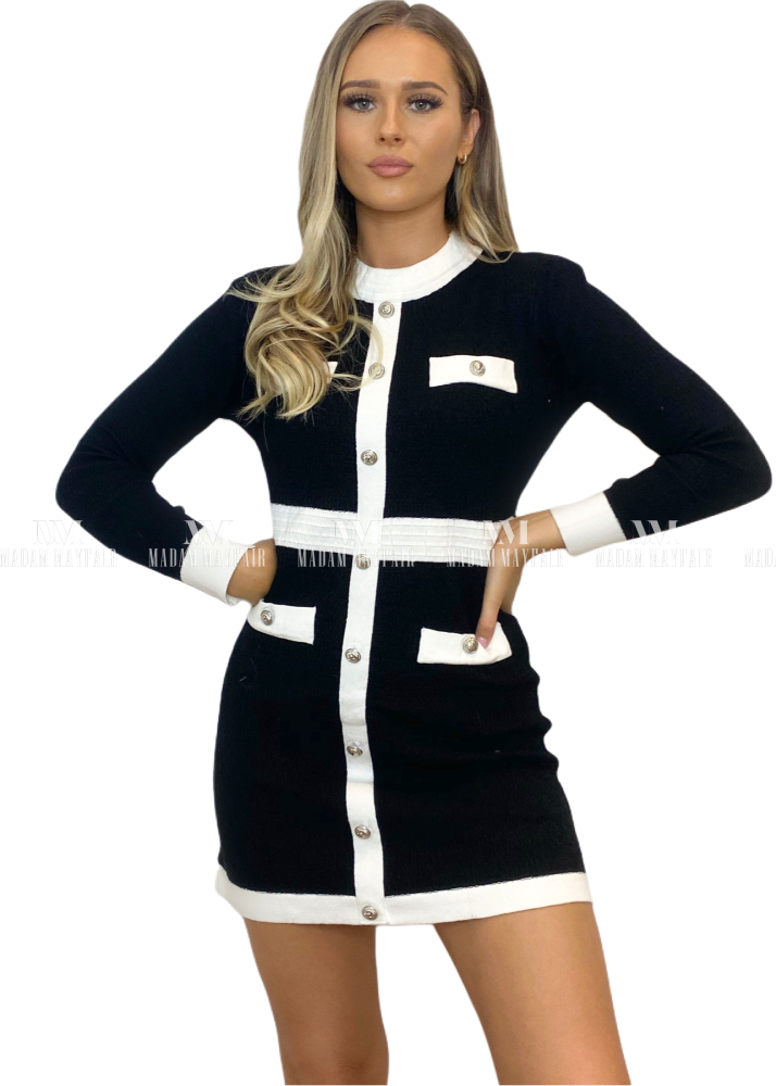Nigella Monochrome Long Sleeve Bodycon Dress Dresses