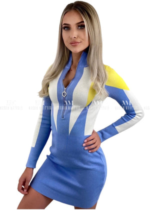 Sandy Baby Blue Long Sleeved Bodycon Dress Dresses