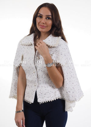Scarlett White Pearl Cape Tops