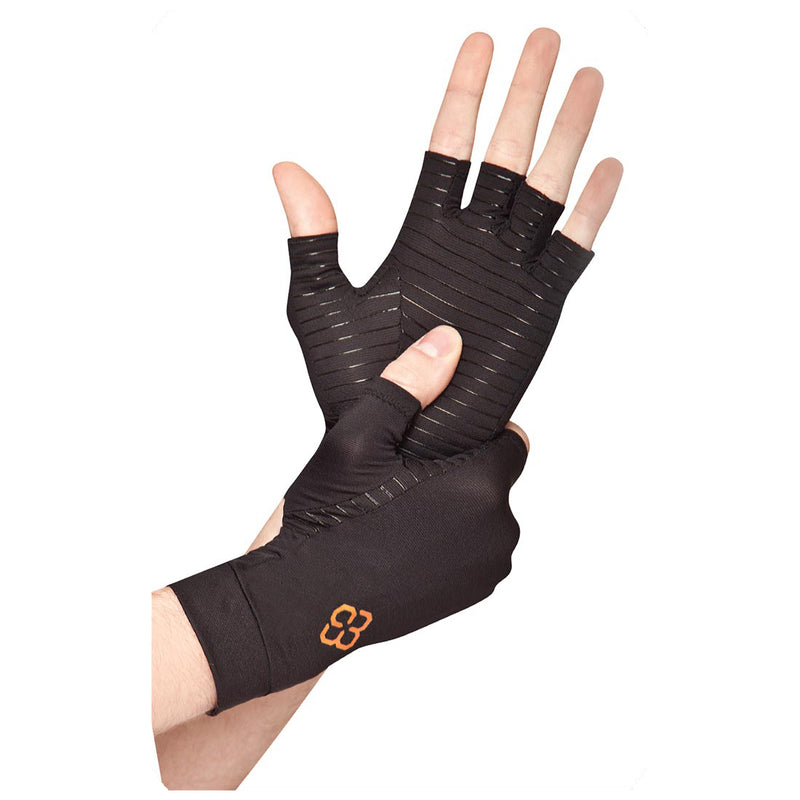 A close up of a person adjusting their copper compression fingerless gloves on a white background