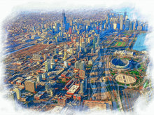 Load image into Gallery viewer, Chicago in Plane View