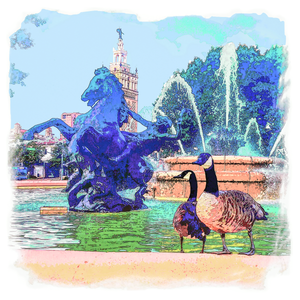 Plaza Fountain Geese