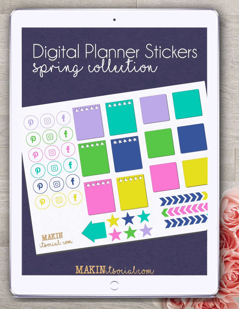 Makin It Social Digital Planner Stickers spring collection