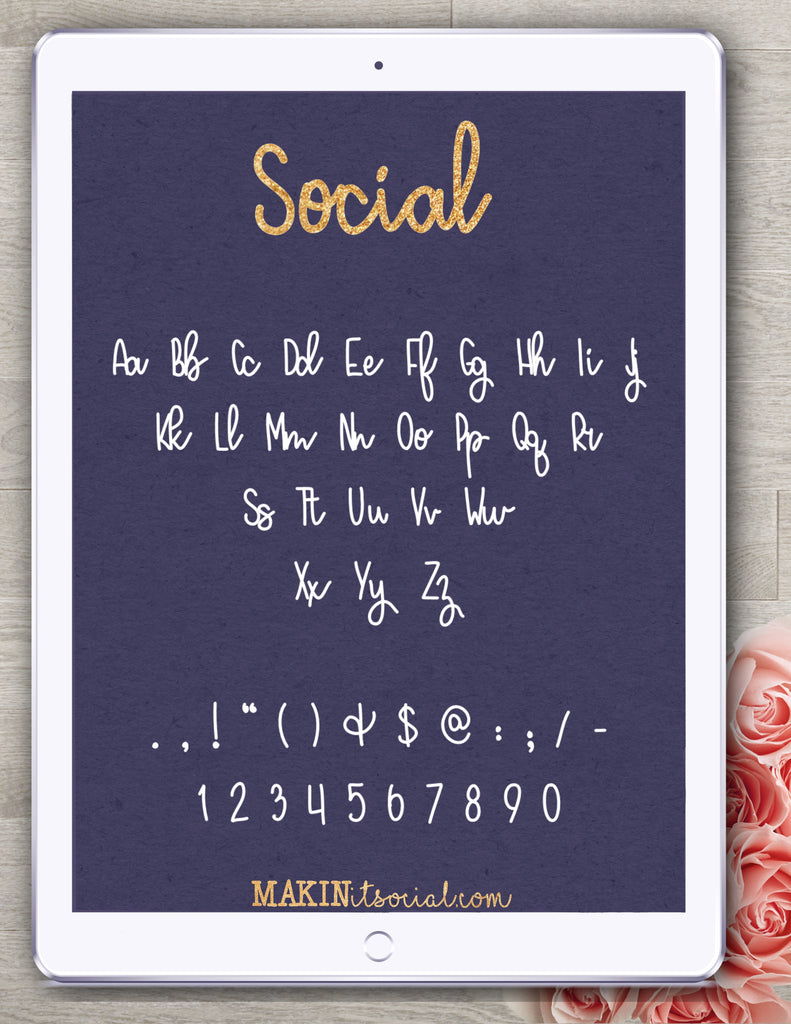 Makinitsocial fonts Social is a bouncy, sweet handlettered font example