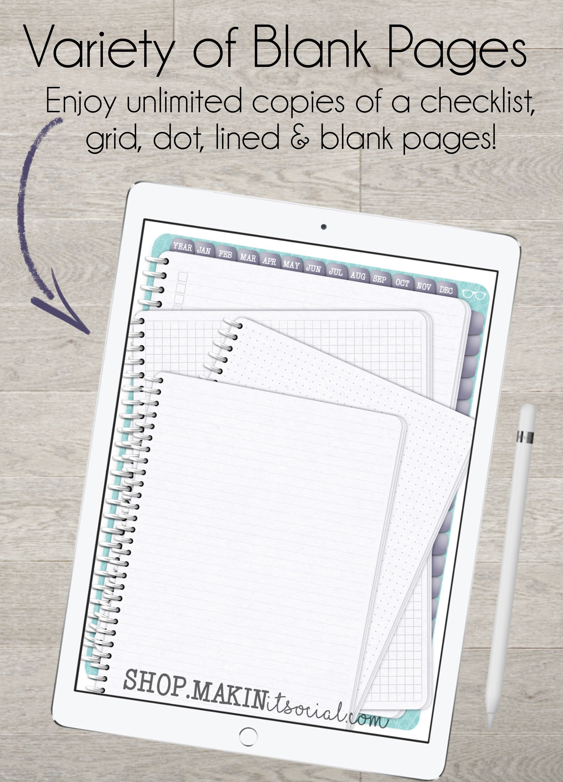 Makin it social Now What Digital Direct Sales Planner Teal Undated variety of blank pages