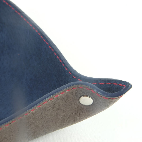 Brown, navy and red leather valet