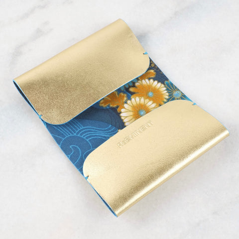 Gold, blue and yellow Kimono Card Case