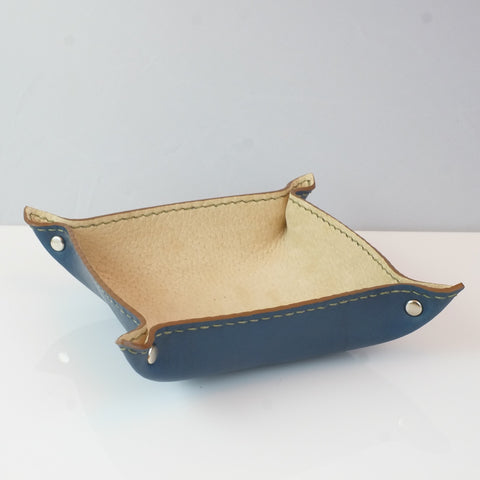 Blue and beige leather valet