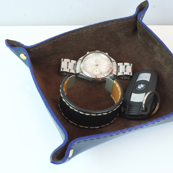 Blue and chocolate leather valet