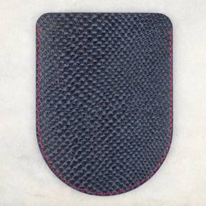 Blue and navy snake print pocket square holder (13cm x 9.5cm)
