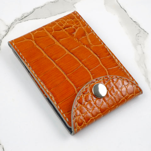 Leon super-slim orange croc print with navy interior