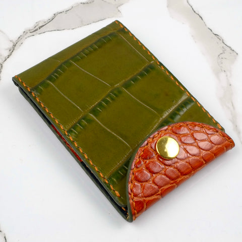 Leon super-slim orange and green croc print with blue grey interior