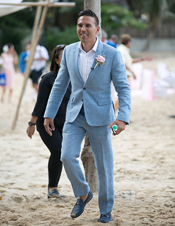 Blue Linen Suit Beach Wedding