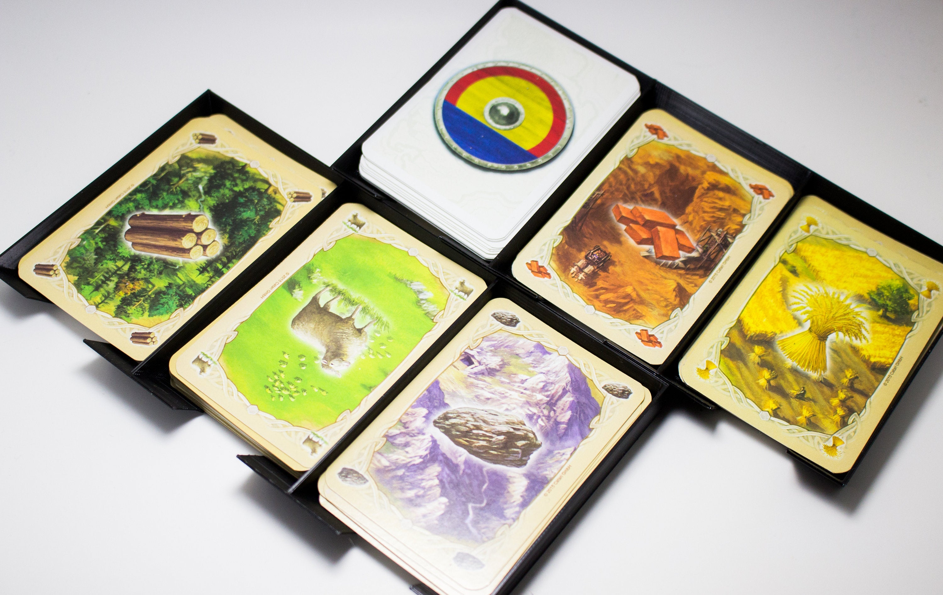 graphic about Settlers of Catan Printable titled Catan Card Holder Tray Organizer 3D Print Settlers of Catan