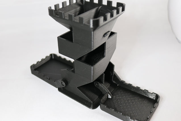 Castle Dice Tower with Folding Tray for DnD