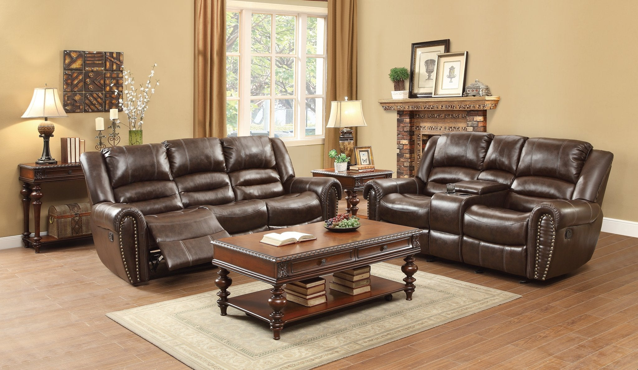 Center Hill Brown Bonded Leather Double Reclining Living Room Set   9668