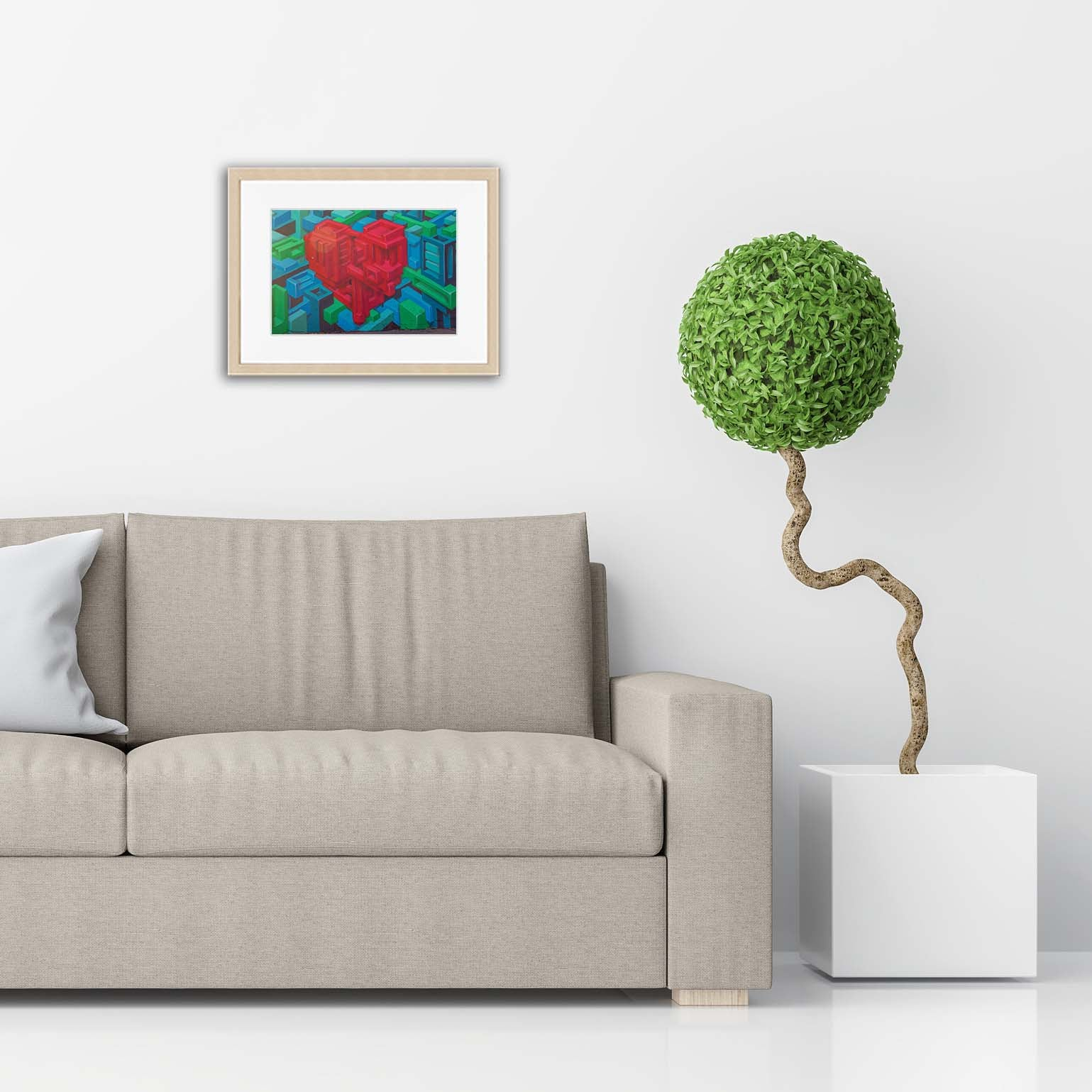 XOXO Gallery Geometric Heart Regular Frame Modern Living Room