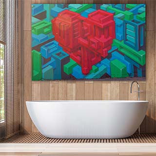 XOXO Gallery XL Acrylic Print Geometric Heart In Luxury Bathroom Setting