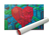 Geometric Heart Unframed Art Print Rolled In A Tube