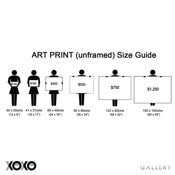 Art Print (unframed) Size Guide For XOXO Gallery