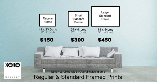 Regular & Standard Framed Print Size Guide For XOXO Gallery