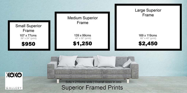 Superior Frame Size Chart - XOXO Gallery